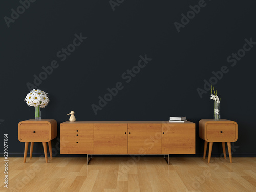 Fényképezés  Wood sideboard in black living room for mockup, 3D rendering
