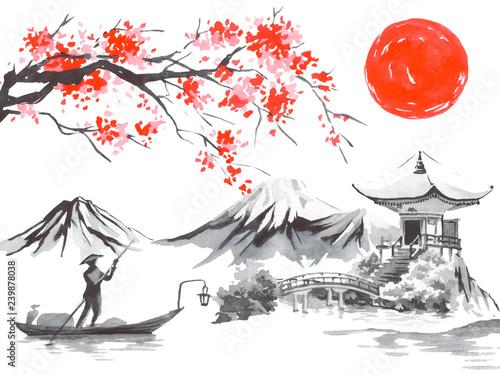 Fotografie, Obraz  Japan traditional sumi-e painting
