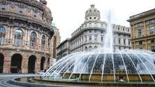 Genova Fountain Piazza De Ferrari Water Jet Square Big Plaza Italian Vacation Landmarks