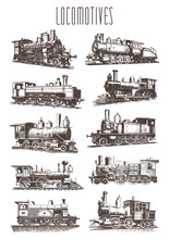 Locomotive Engine Vintage Railway Set #vector – Lokomotiven Dampflokomotive Eisenbahn