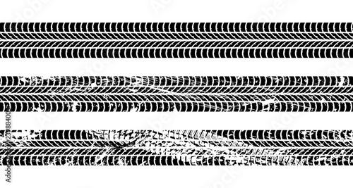 Fotografía  Set of seamless car tire tracks isolated on white background, seamless vector te