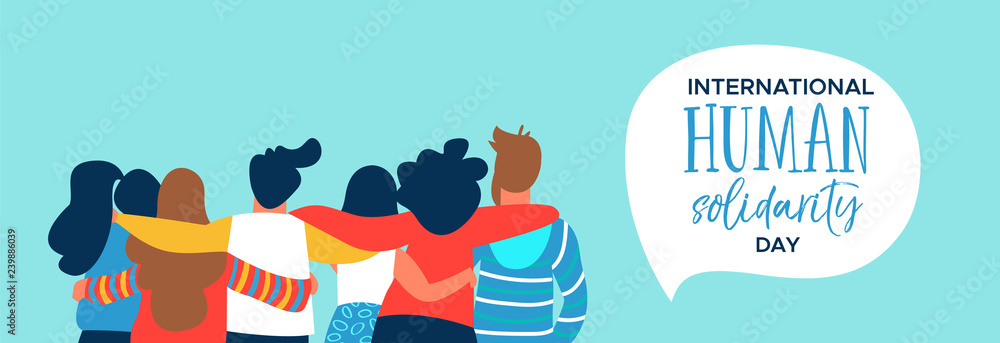 Fototapety, obrazy: Human Solidarity banner of happy friend group hug