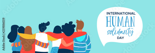Valokuva Human Solidarity banner of happy friend group hug