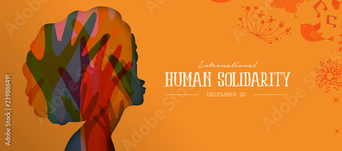Human Solidarity Day card with afro woman profile Wallpaper Mural