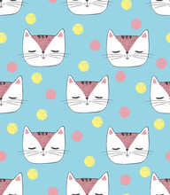 Seamless Pattern With Hand Drawn Sketch White Cat With Polka Dot Bow. Vector Illustration With Cat's Head With Closed Eyes And Colored Snowballs On Blue Background For Paper, Cards, Fabric, Web Design