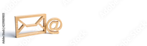 Cuadros en Lienzo Envelope and email symbol on a white background