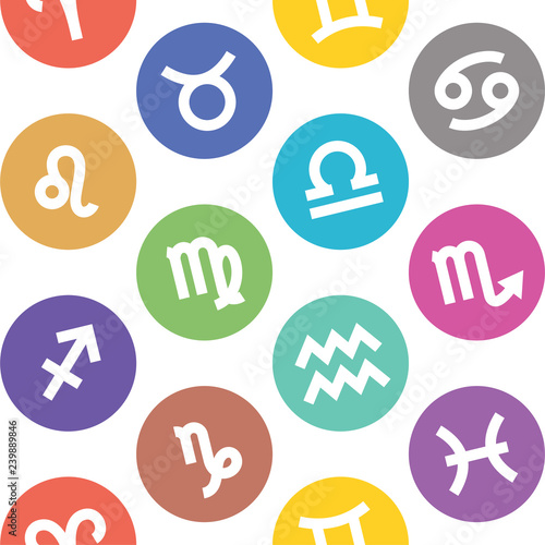 Zodiac signs seamless pattern  Aquarius, libra, leo, taurus