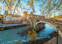 Rome (Italy) - The Tiber River And The Monumental Lungotevere. Here In Particular The Isola Tiberina Island.