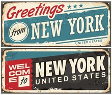 Greetings From New York America Retro Metal Souvenir Print Design Layout. Welcome To New York Vintage Tin Sign Template. Americana Vector Illustration.