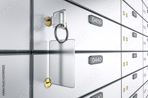 Fototapeta Safe deposit boxes with key. 3D rendering. Safe lockers obraz