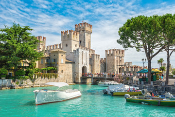 Rocca Scaligera castle on the island of Sirmione, lake Garda, Italy
