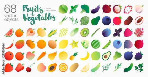 Poster Cuisine Fruits-n-vegetables gradient illustration