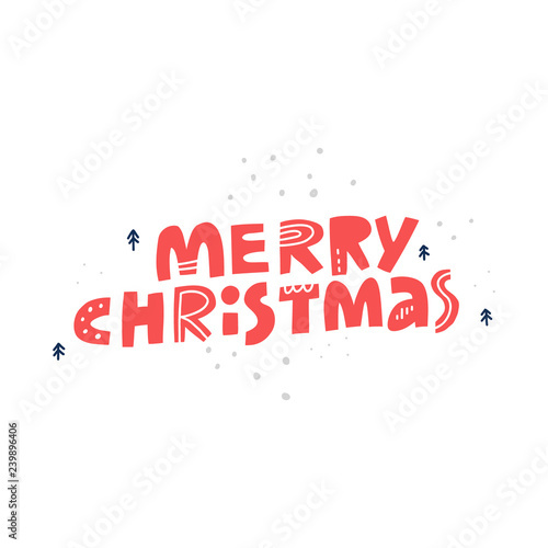 Merry Christmas quote hand drawn red lettering