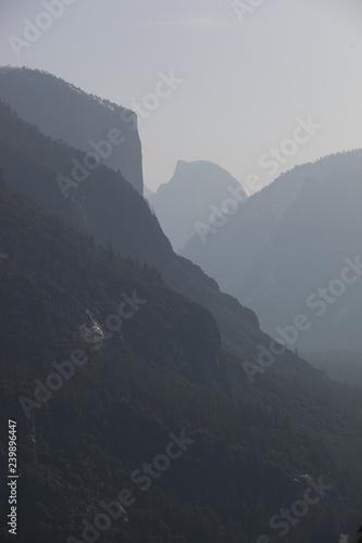 Yosemite Valley under fog cover in the early morning mist, Yosemite National Par Wallpaper Mural