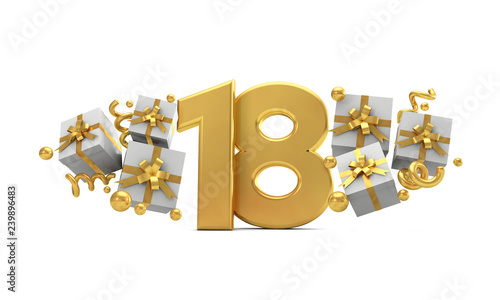 Photographie  Number 18 gold birthday celebration number with gift boxes