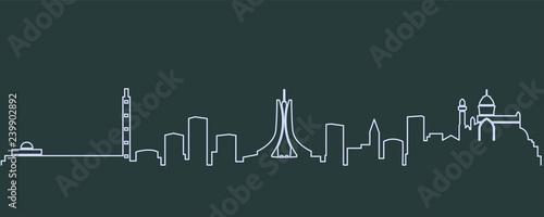 Algiers Single Line Skyline Fototapet