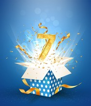 7 Th Years Anniversary And Open Gift Box With Explosions Confetti. Template Seven Birthday Celebration On Blue Background Vector Illustration