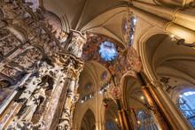 Interior Of Primate Cathedral Of Saint Mary Of Toledo. Baroque Altarpiece Called El Transparente