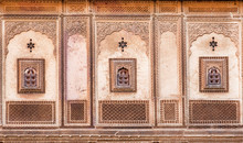 Patterns With Ancient Examples Of Decorations On Wall Of Historical House In Rajasthan, India