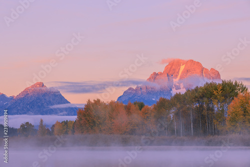 Scenic Sunrise Landscape of the Tetons in autumn