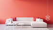Leinwanddruck Bild Living Coral Interior / Color of The Year for festive and valentine / 3D render interior