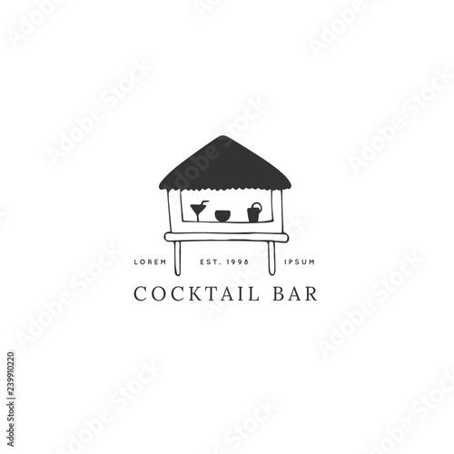 Fotografie, Tablou Vector hand drawn logo template, a cocktail beach bar.