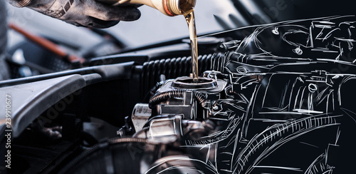 Tableau sur Toile SKETCH - Mechanic fills up the engine with engine oil