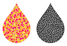 Pixel Drop Mosaic Icons. Vector Drop Icons In Multi-colored And Black Versions. Collages Of Arbitrary Spheric Spots. Vector Collages Of Drop Images Formed Of Random Round Elements.