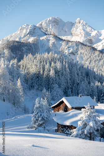 Fotobehang Alpen Beautiful winter mountain landscape with snowcapped wooden hut