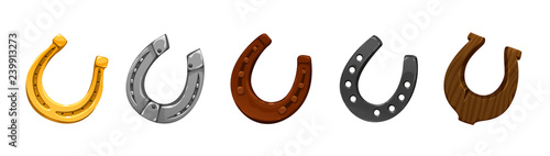 Fotografie, Obraz vector set of icons horseshoes of different colors shapes made of different meta