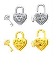 Vector Set Of Heart Locks And ...