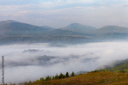 Morning mist at Loch  Garry, Scotland Canvas Print