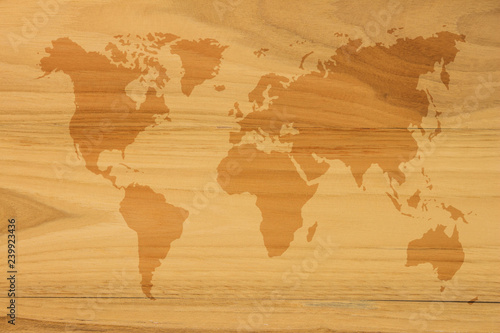 World map vintage pattern for background in color tone/ Wood ...