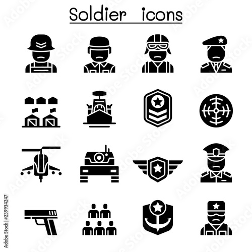 Soldier & Military icon set Fototapeta