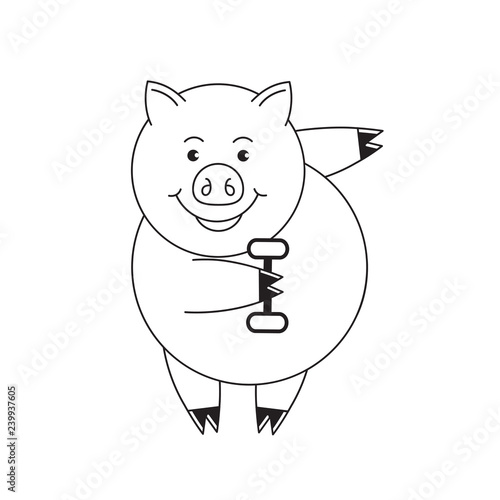 Black And White Cute Pig Cartoon Lifting Dumbbell Isolated On White Background Buy This Stock Vector And Explore Similar Vectors At Adobe Stock Adobe Stock