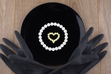 Treatment Chemicals : A Heart Built From Refocusing White Tablets On A Black Plate And Black Gloves