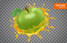 Realistic Green Apple With Spray Of Apple Juice Vector Illustration On Isolated Background