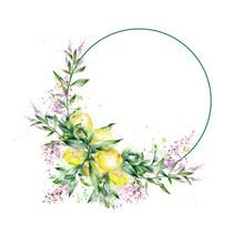 Watercolor Postcard Wreath Abstract Lemons And Green Leaves Of Verbena