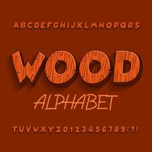 Cartoon Wood Alphabet Font. Le...