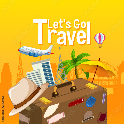 Poster Kids Let's go travel object