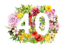 Floral Number For Count 40 Forty From Flowers. Watercolor For School