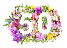 Floral Number 50 Fifty From Wild Flowers And Meadow Grass. Watercolor Numeric