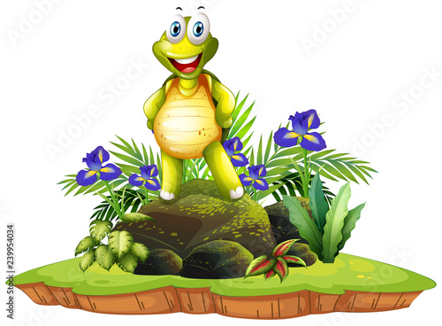 Poster Kids Isolated happy turtle in nature