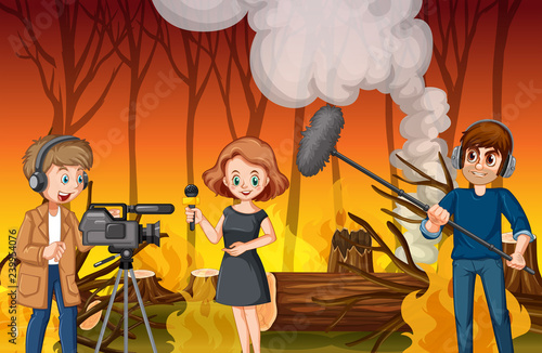 Poster Kids Journalist report news wildfire