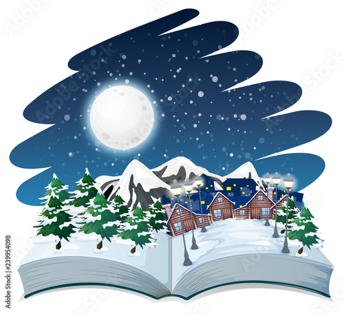 Poster Kids Open book winter outdoor theme