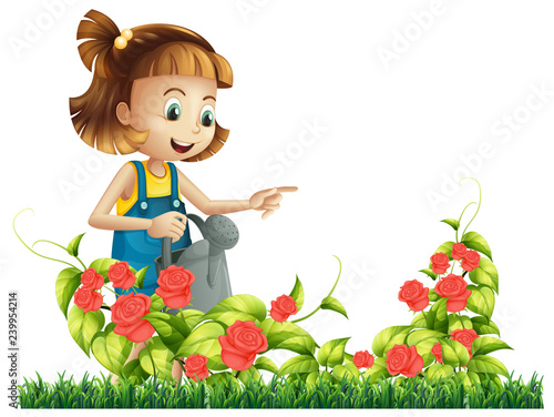 Poster Kids A girl watering rose tree