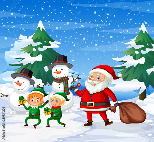 Poster Kids Happy santa and elf ourdoor background