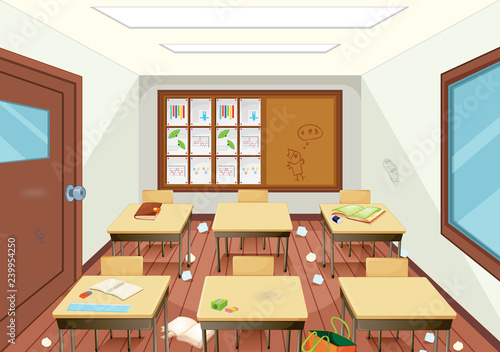 Poster Kids Dirty wooden classroom interior