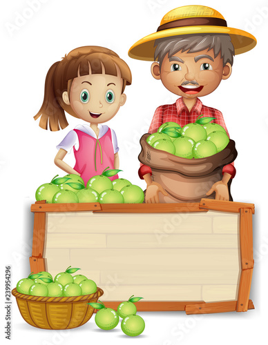 Poster Kids Farmer with lime on wooden board