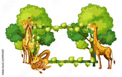 Poster Kids Giraffe on nature frame